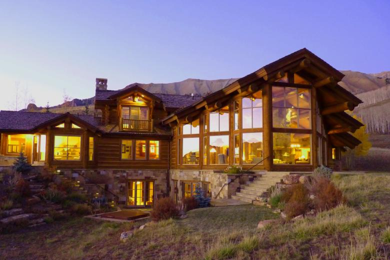 2SS Log and Stone Mountain Home Evening - Contemporary Mountain Log Home in Near Telluride, CO