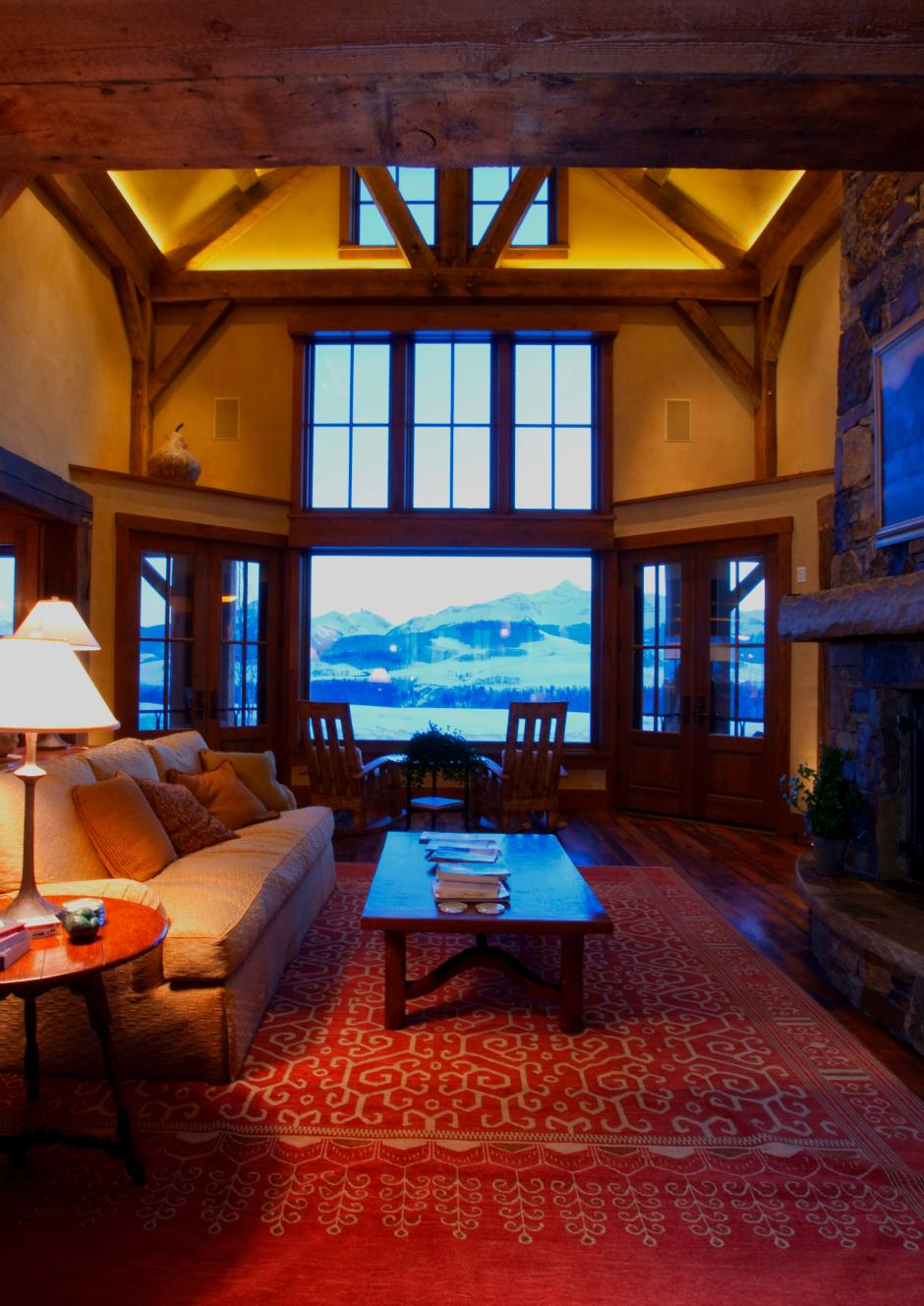 1GH Living Room - Stone and Timber Home in Colorado