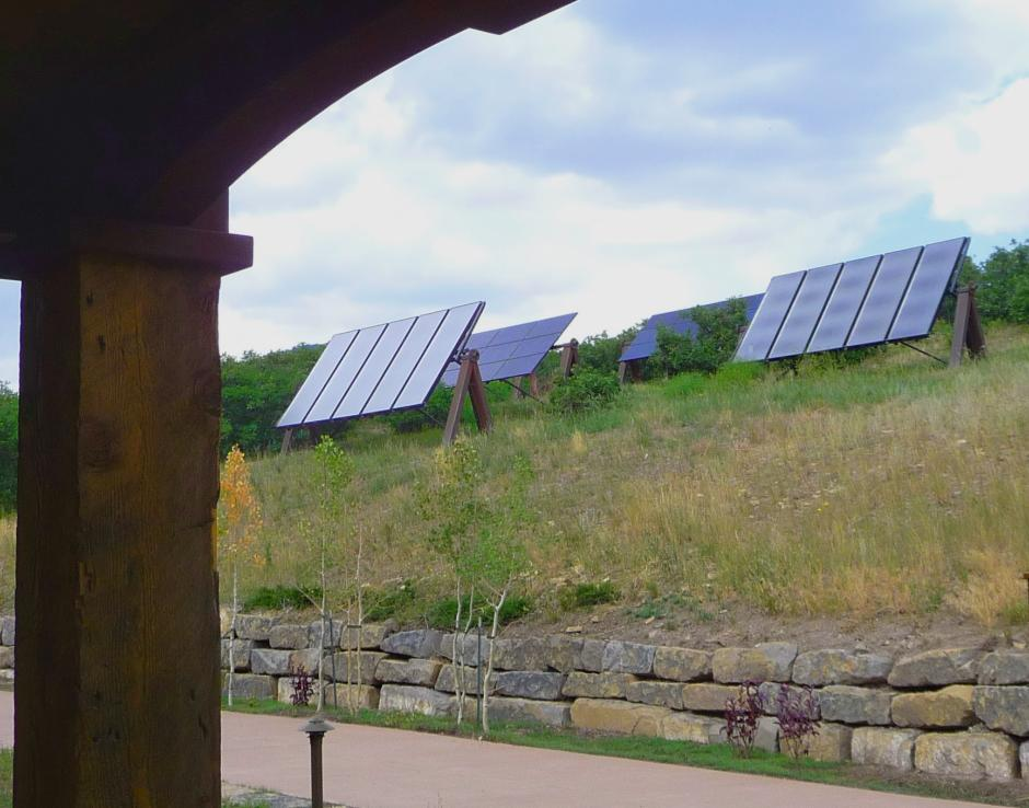 1GH Solar Array from Porch - Stone and Timber Home in Colorado
