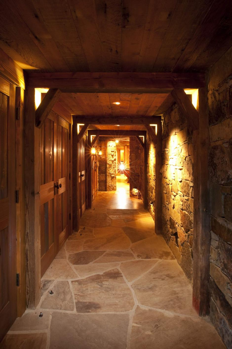 1GH Wood and Stone Hallway - Stone and Timber Home in Colorado