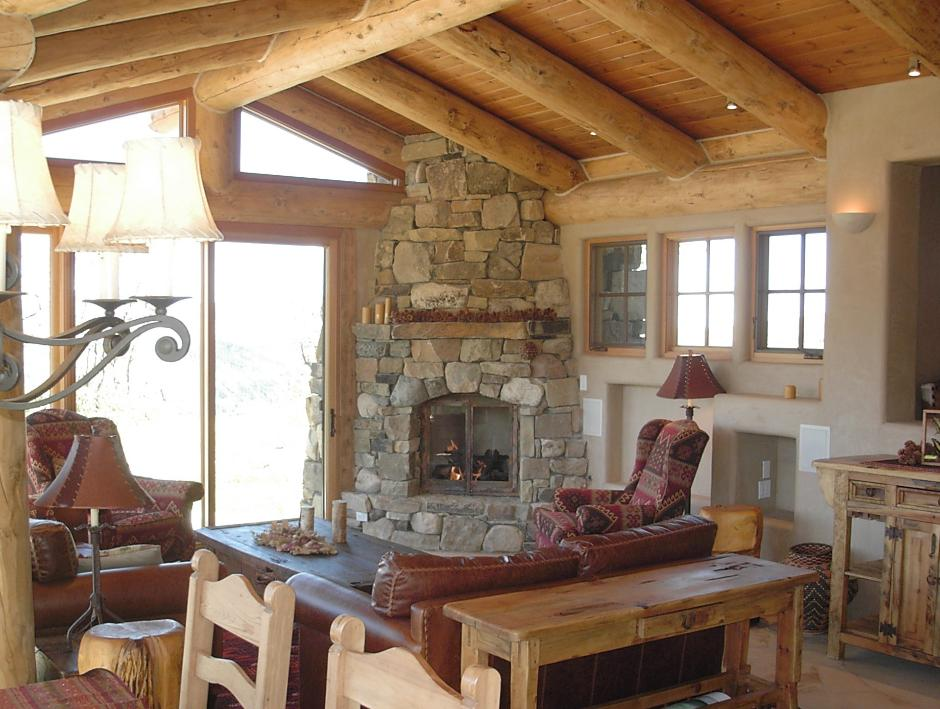 1SS Living Room and Natural Stone Fireplace - Guest Residence in Near Telluride, CO