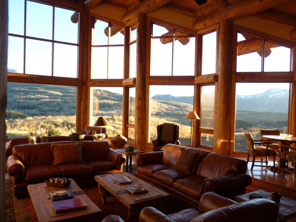 Great Room Looking Out - Contemporary Mountain Log Home in Near Telluride, CO