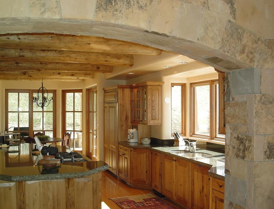 2SS Wood and Stone Kitchen - Contemporary Mountain Log Home in Near Telluride, CO