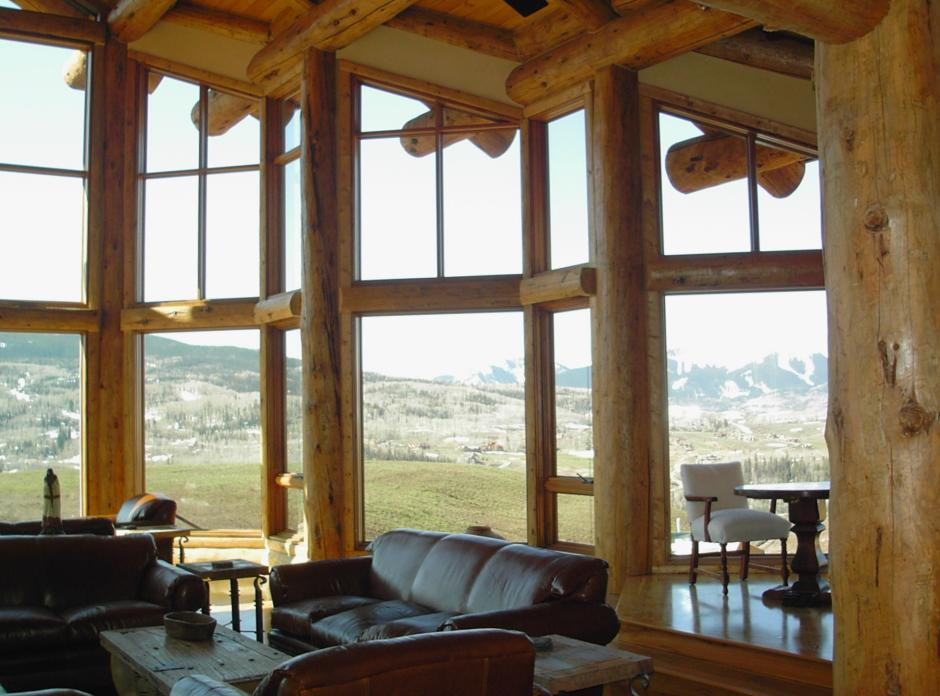 2SS Living Room Views - Contemporary Mountain Log Home in Near Telluride, CO