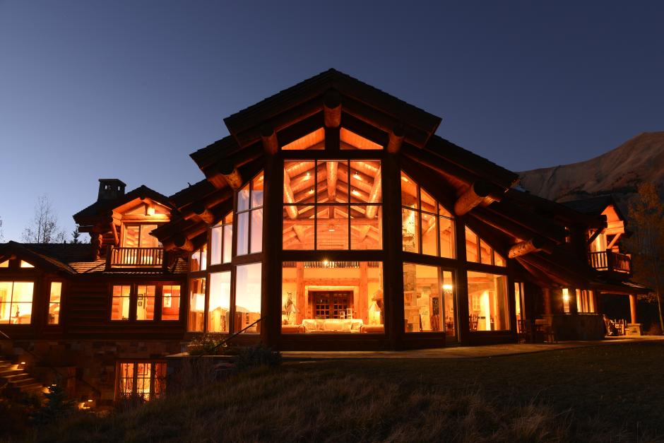 Exterior Close-up at Dusk - Contemporary Mountain Log Home in Near Telluride, CO