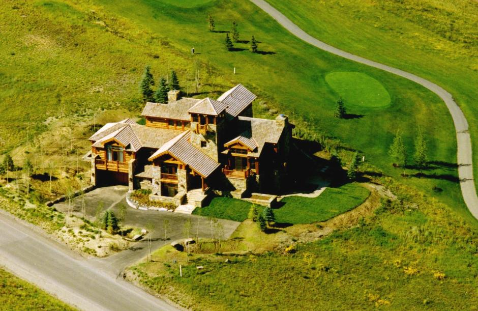 723 Log and Stone Home Aerial View - Mountain Residence in Colorado