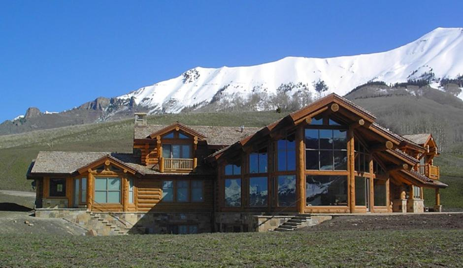 2SS Log and Stone Mountain Home South Side - Contemporary Mountain Log Home in Near Telluride, CO
