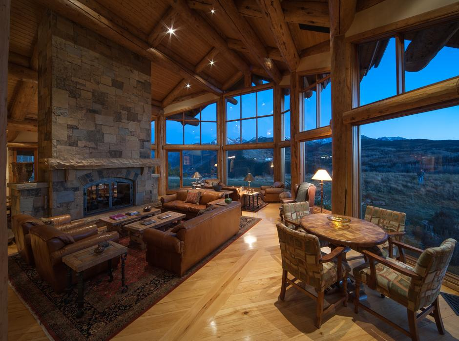 Great Room Viewing Fireplace - Contemporary Mountain Log Home in Near Telluride, CO