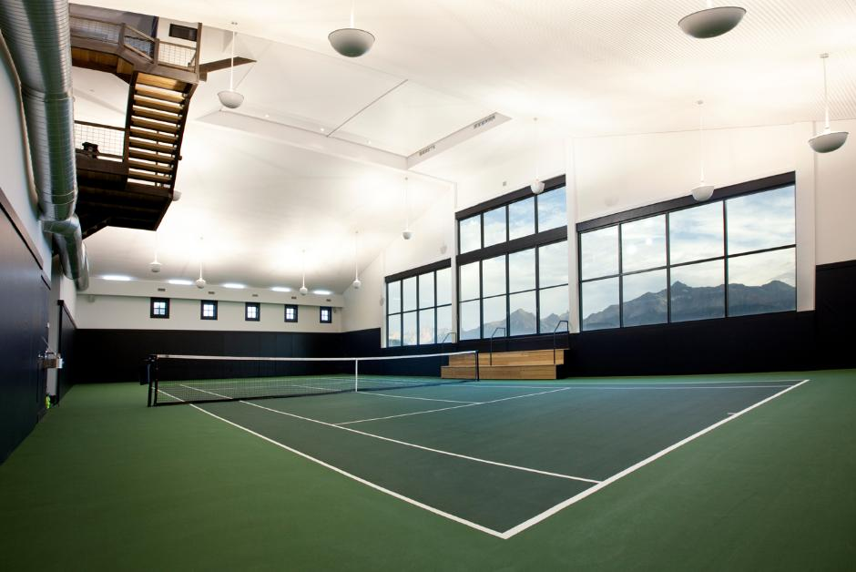 Indoor shot of tennis court pavilion